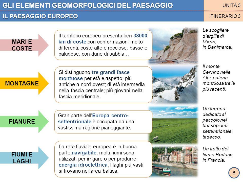 GLI ELEMENTI GEOMORFOLOGICI DEL PAESAGGIO IL PAESAGGIO EUROPEO UNITÀ 3 ITINERARIO 3 MONTAGNE MARI E COSTE FIUMI E LAGHI PIANURE Il territorio europeo