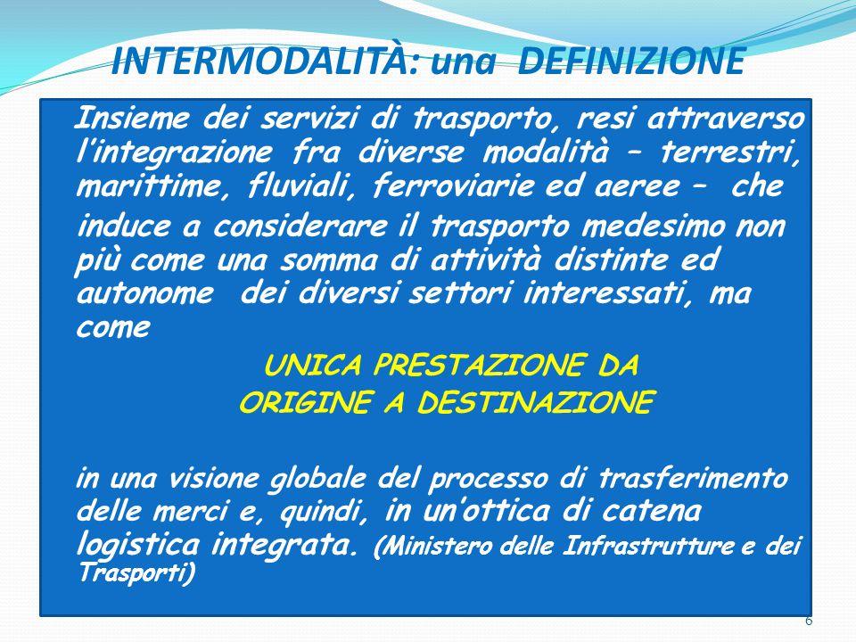 INTERMODALITÀ: una DEFINIZIONE Insieme dei servizi di trasporto, resi attraverso l'integrazione fra diverse modalità – terrestri, marittime, fluviali,