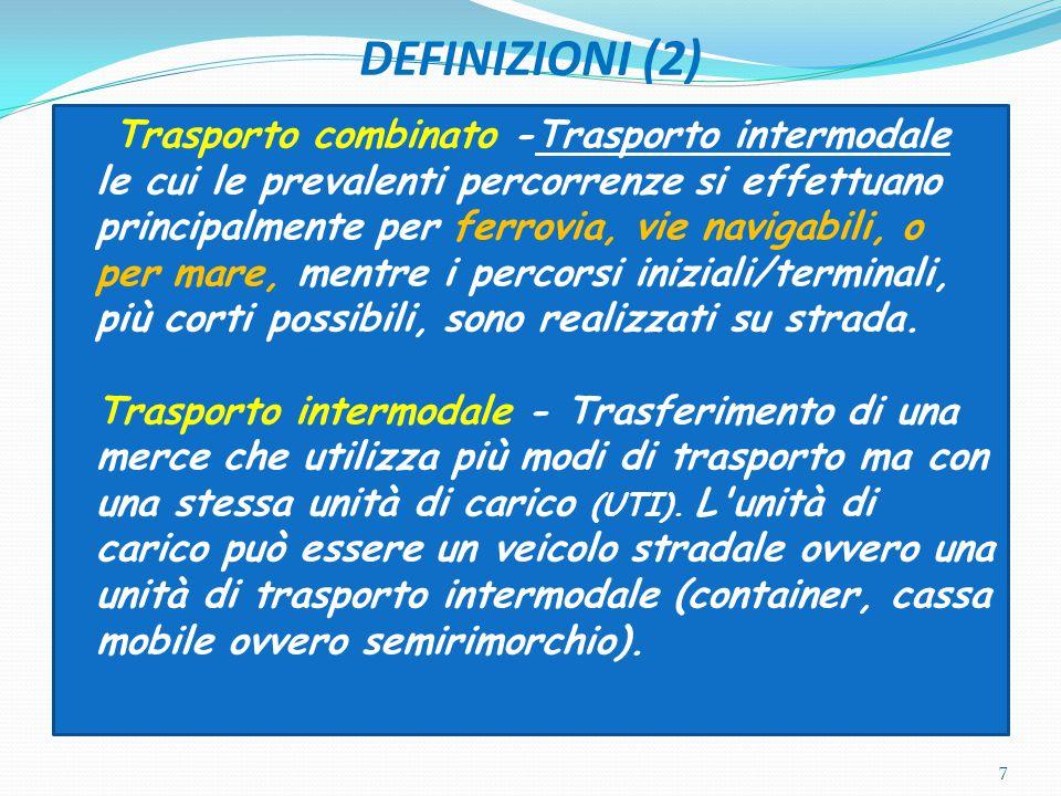 DEFINIZIONI (2) Trasporto combinato -Trasporto intermodale le cui le prevalenti percorrenze si effettuano principalmente per ferrovia, vie navigabili,