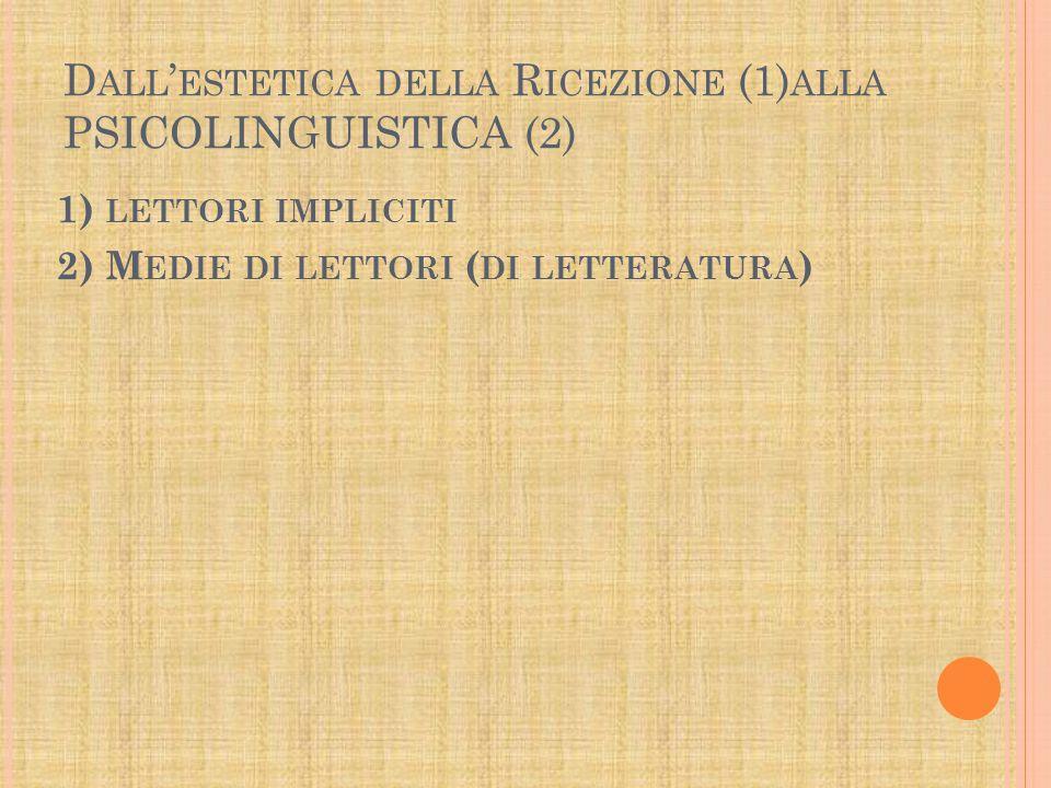 D ALL ' ESTETICA DELLA R ICEZIONE (1) ALLA PSICOLINGUISTICA (2) 1) LETTORI IMPLICITI 2) M EDIE DI LETTORI ( DI LETTERATURA )