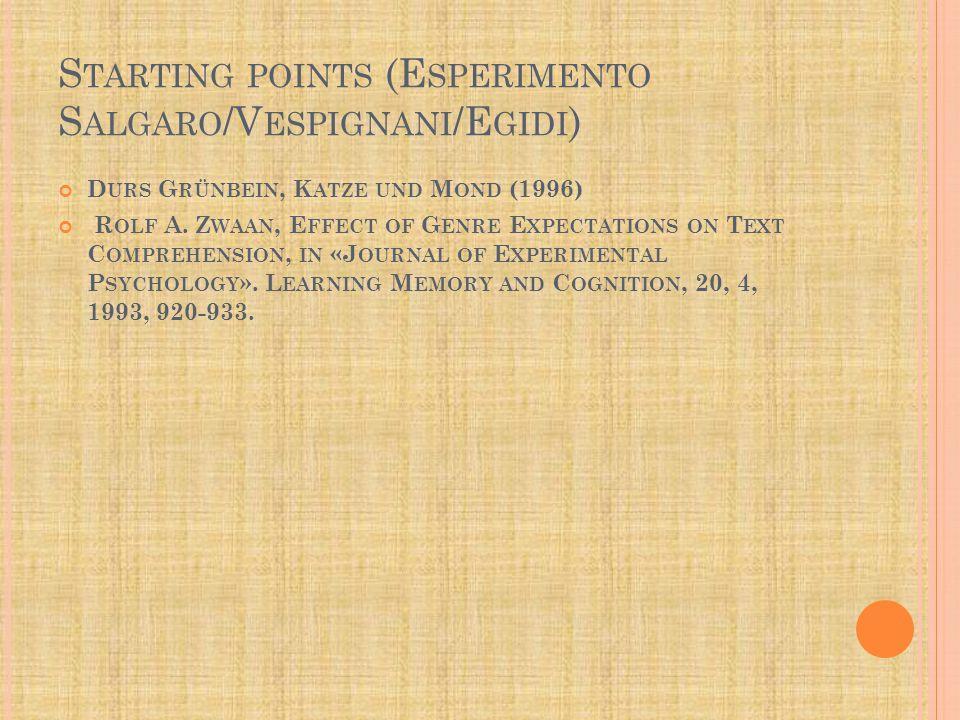 S TARTING POINTS (E SPERIMENTO S ALGARO /V ESPIGNANI /E GIDI ) D URS G RÜNBEIN, K ATZE UND M OND (1996) R OLF A.