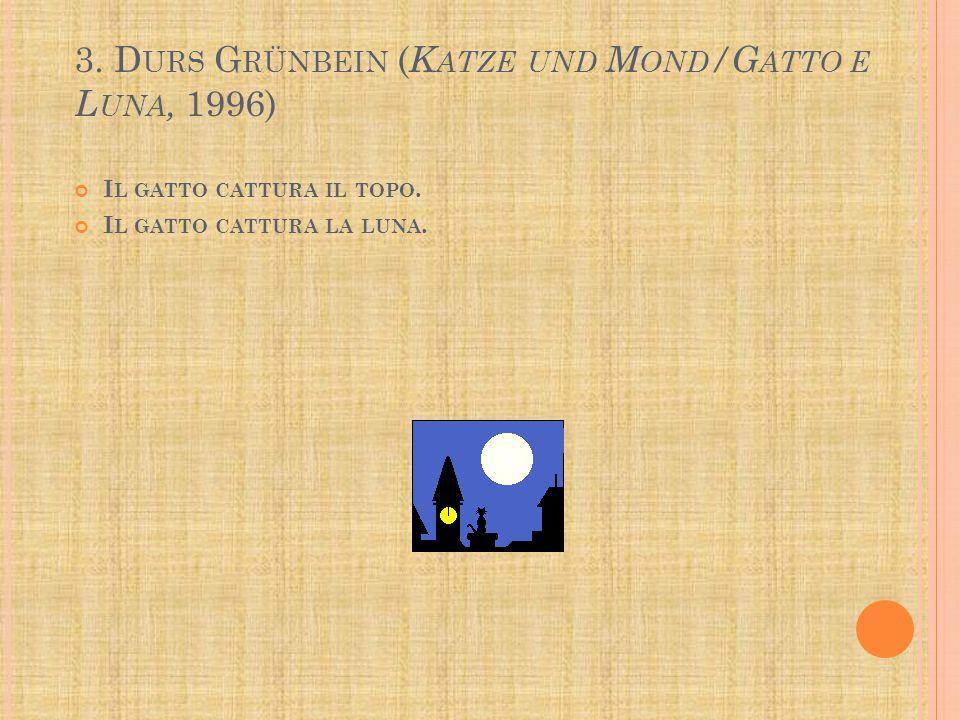 3.D URS G RÜNBEIN ( K ATZE UND M OND /G ATTO E L UNA, 1996) I L GATTO CATTURA IL TOPO.
