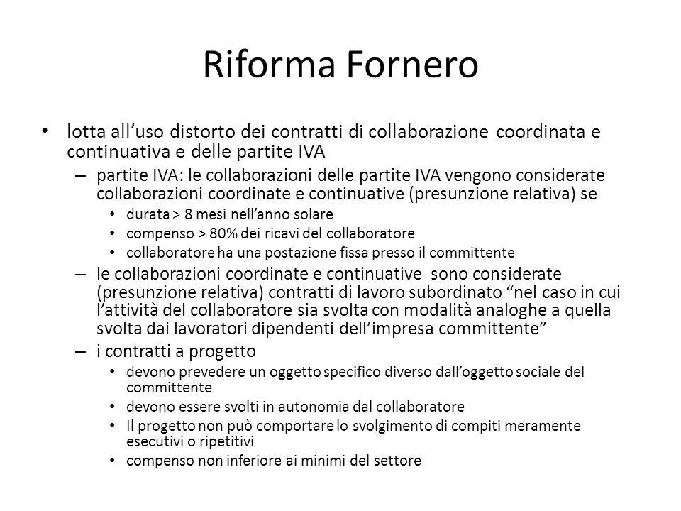 Riforma Fornero lotta all'uso distorto dei contratti di collaborazione coordinata e continuativa e delle partite IVA – partite IVA: le collaborazioni