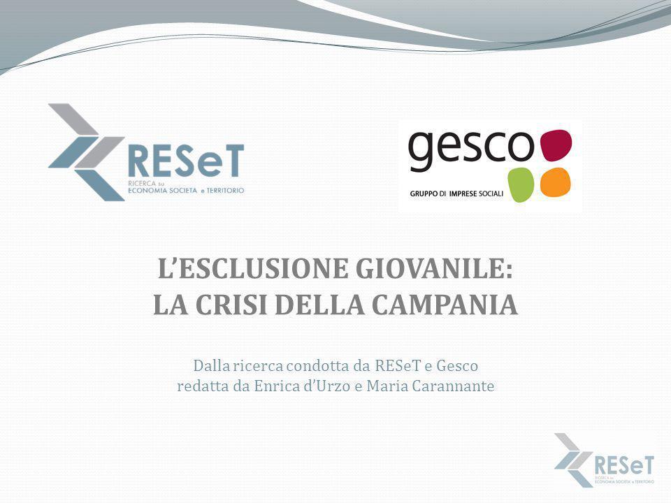 L'ESCLUSIONE GIOVANILE: LA CRISI DELLA CAMPANIA Dalla ricerca condotta da RESeT e Gesco redatta da Enrica d'Urzo e Maria Carannante