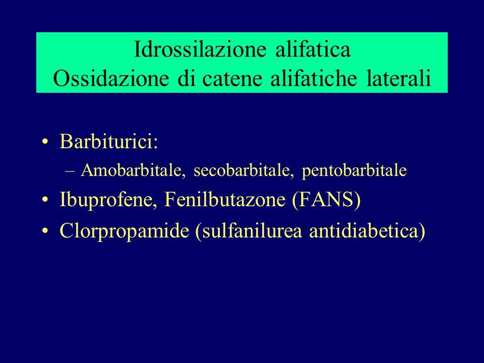 Idrossilazione alifatica Ossidazione di catene alifatiche laterali Barbiturici: –Amobarbitale, secobarbitale, pentobarbitale Ibuprofene, Fenilbutazone