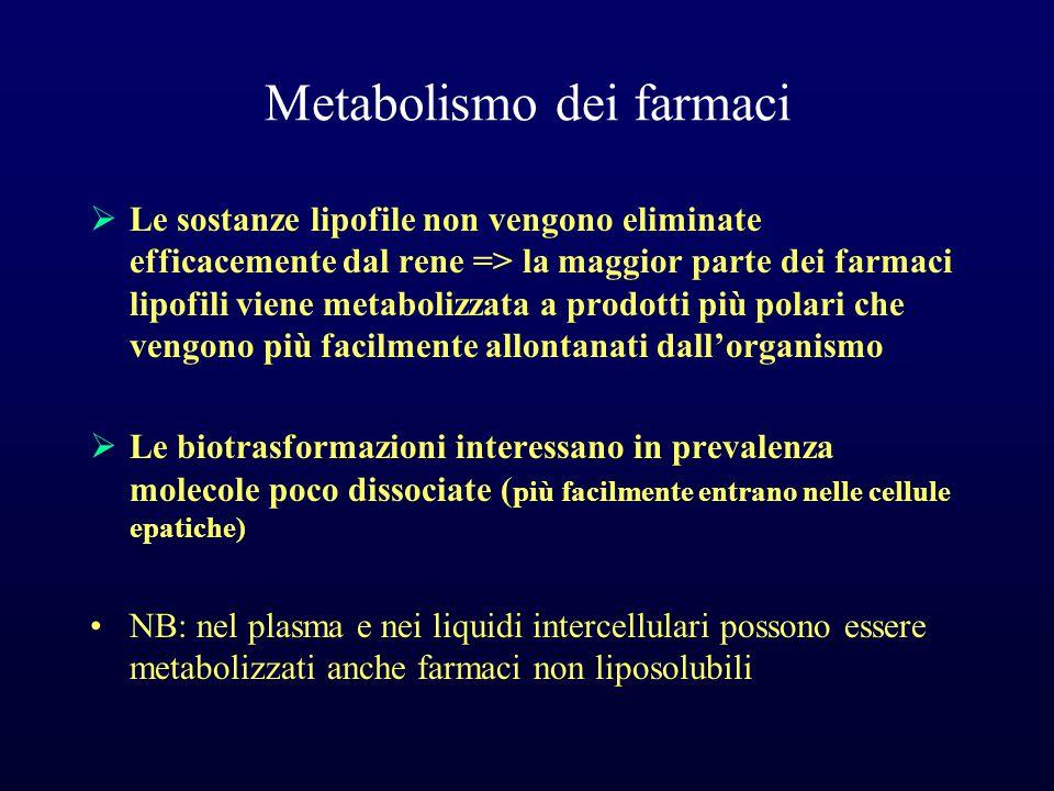 Metabolismo dei farmaci  Le sostanze lipofile non vengono eliminate efficacemente dal rene => la maggior parte dei farmaci lipofili viene metabolizza