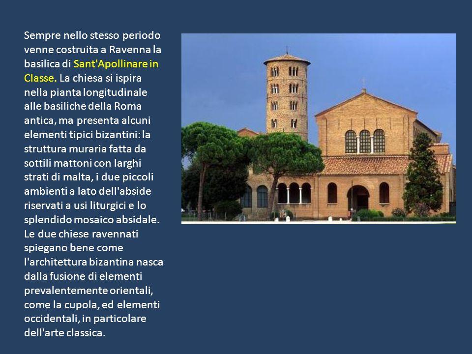 Sempre nello stesso periodo venne costruita a Ravenna la basilica di Sant'Apollinare in Classe. La chiesa si ispira nella pianta longitudinale alle ba