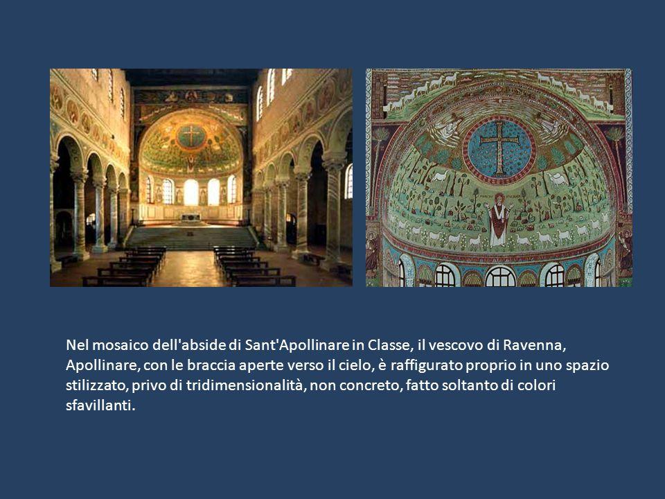 Nel mosaico dell'abside di Sant'Apollinare in Classe, il vescovo di Ravenna, Apollinare, con le braccia aperte verso il cielo, è raffigurato proprio i