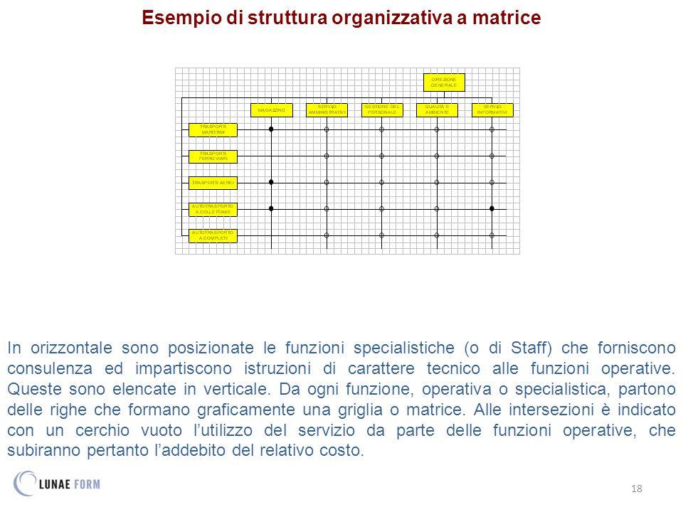 18 Esempio di struttura organizzativa a matrice In orizzontale sono posizionate le funzioni specialistiche (o di Staff) che forniscono consulenza ed i