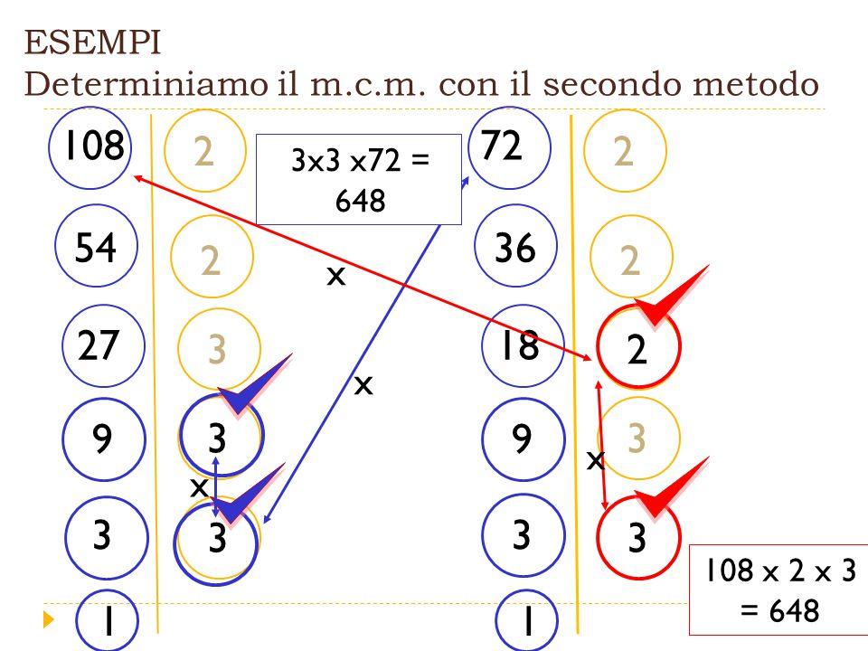 2 2 3 3 3 ESEMPI Determiniamo il m.c.m.