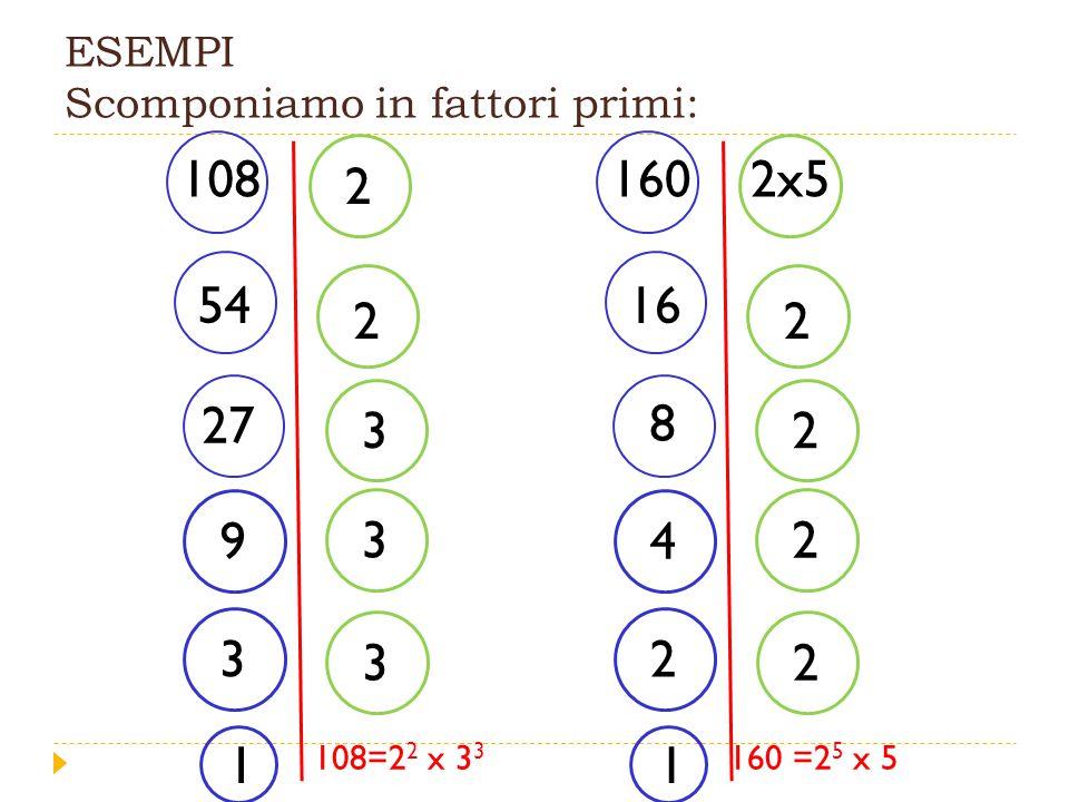 ESEMPI Scomponiamo in fattori primi: 108 2 2 54 27 3 9 3 3 3 1 1602x5 2 16 8 2 4 2 2 2 1 108=2 2 x 3 3 160 =2 5 x 5
