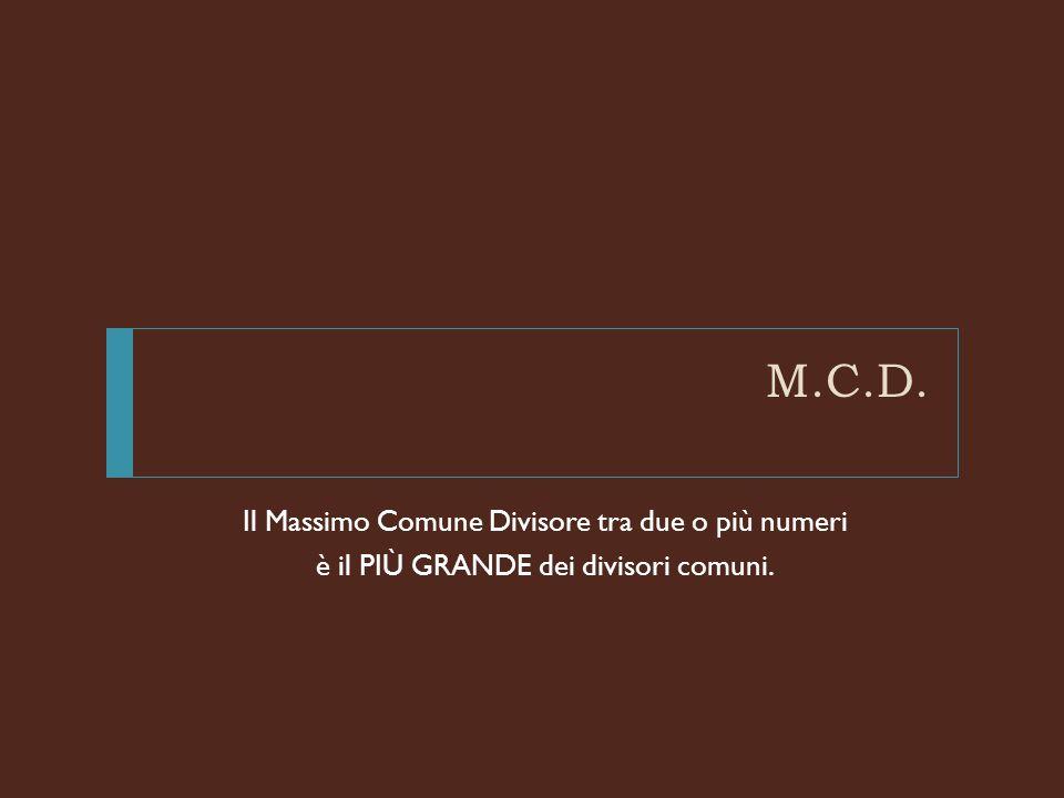 M.C.D.: primo metodo Dati due numeri Si scrivono tutti i divisori dei due numeri: 12 20 Qual è il più grande dei divisori comuni.