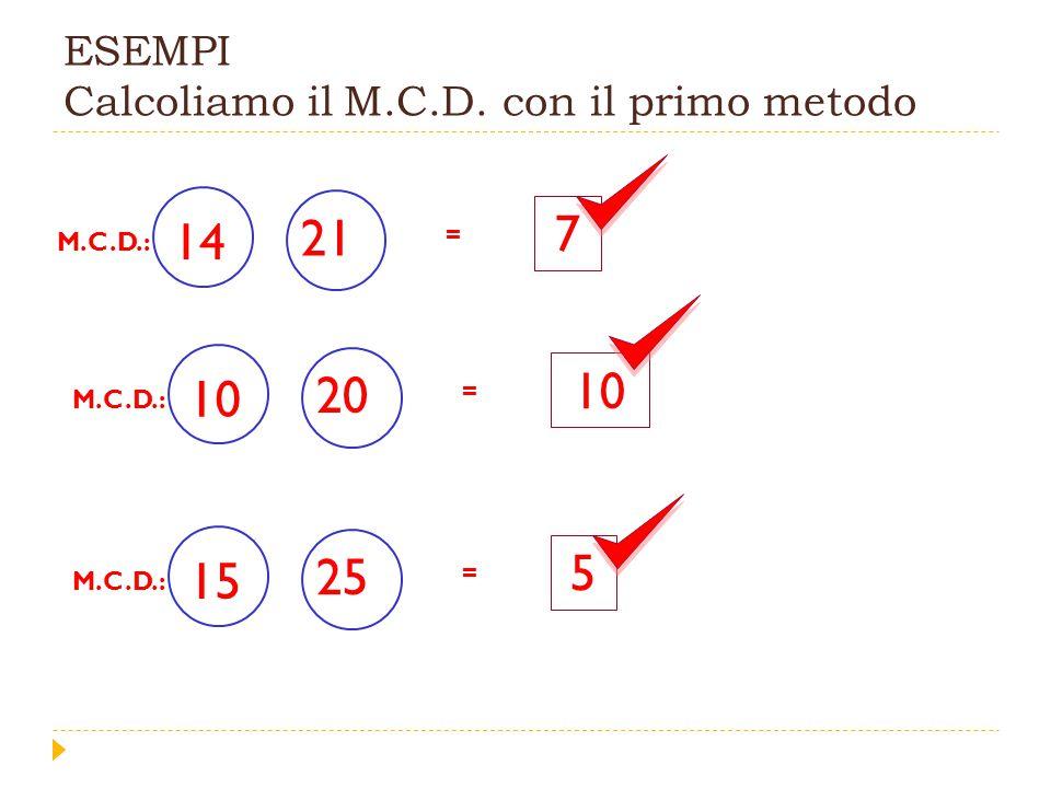 M.C.D.: secondo metodo si scompongono in fattori i due numeri 72 2 2 36 18 29 33 60 2 2 30 15 35 Si trovano i fattori primi comuni 223 e si moltiplicano = x x 12 12 è il più grande divisore comune tra 60 e 72 M.C.D.