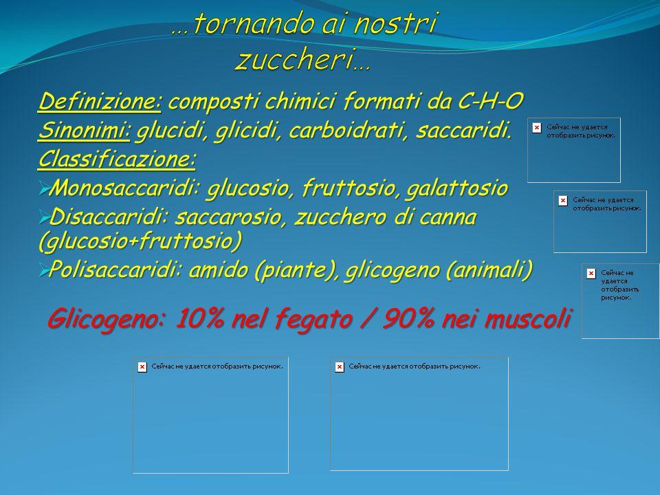 Definizione: composti chimici formati da C-H-O Sinonimi: glucidi, glicidi, carboidrati, saccaridi. Classificazione:  Monosaccaridi: glucosio, fruttos