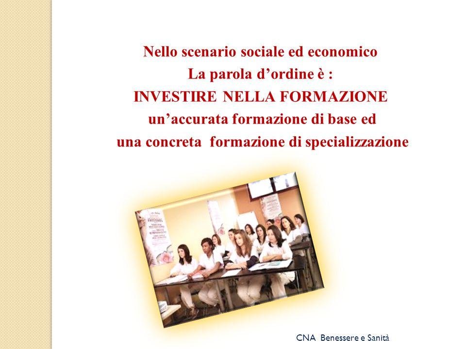 Nello scenario sociale ed economico La parola d'ordine è : INVESTIRE NELLA FORMAZIONE un'accurata formazione di base ed una concreta formazione di specializzazione