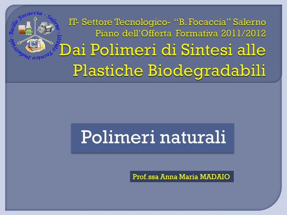 Polimeri naturali Prof.ssa Anna Maria MADAIO