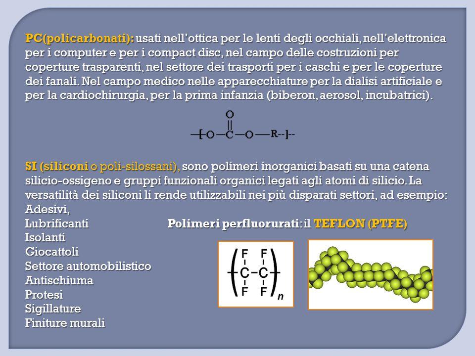 PC(policarbonati): usati nell'ottica per le lenti degli occhiali, nell'elettronica per i computer e per i compact disc, nel campo delle costruzioni pe