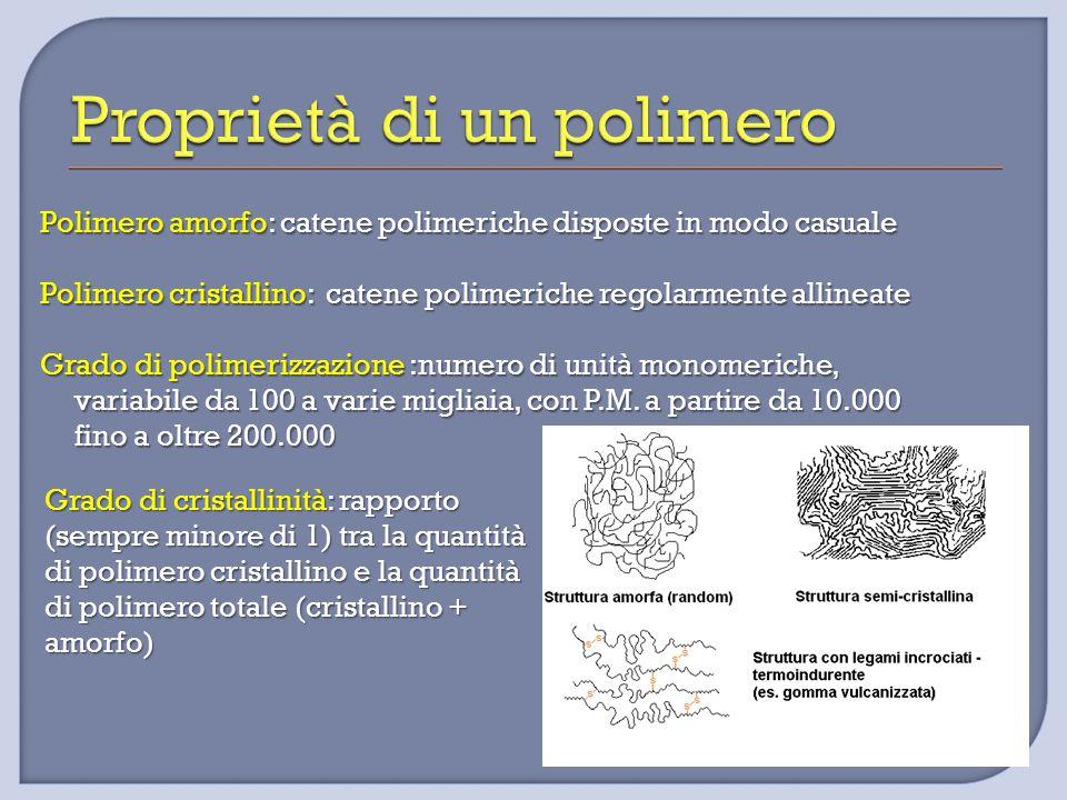 Polimero amorfo: catene polimeriche disposte in modo casuale Polimero cristallino: catene polimeriche regolarmente allineate Grado di polimerizzazione :numero di unità monomeriche, variabile da 100 a varie migliaia, con P.M.