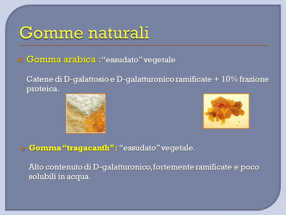 " Gomma arabica : ""essudato"" vegetale Catene di D-galattosio e D-galatturonico ramificate + 10% frazione proteica.  Gomma ""tragacanth"" : ""essudato"" v"
