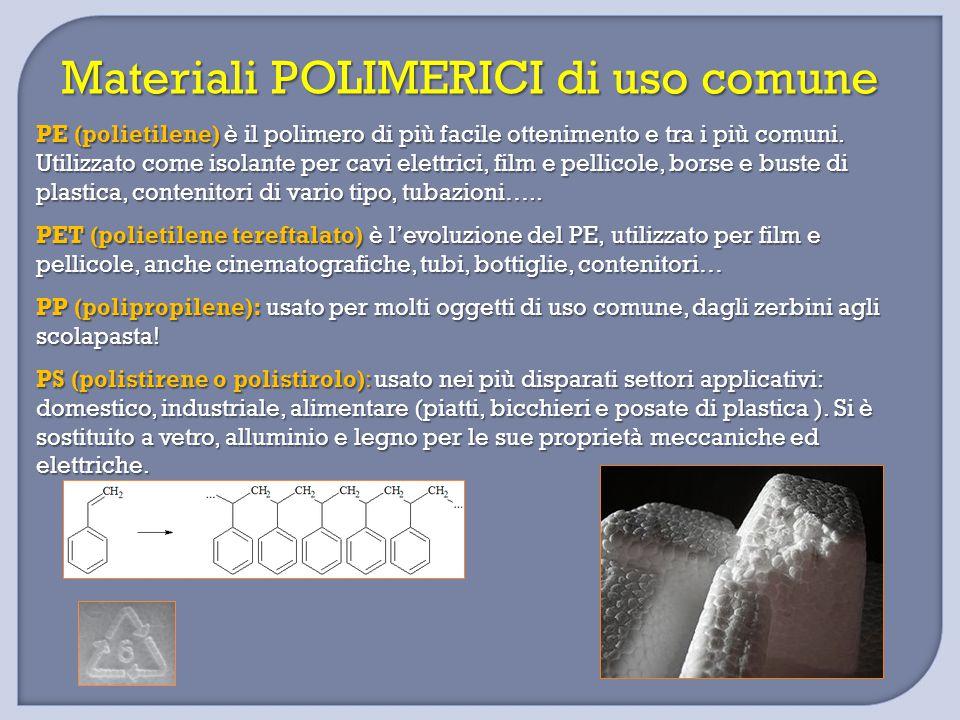 Materiali POLIMERICI di uso comune PE (polietilene) è il polimero di più facile ottenimento e tra i più comuni. Utilizzato come isolante per cavi elet