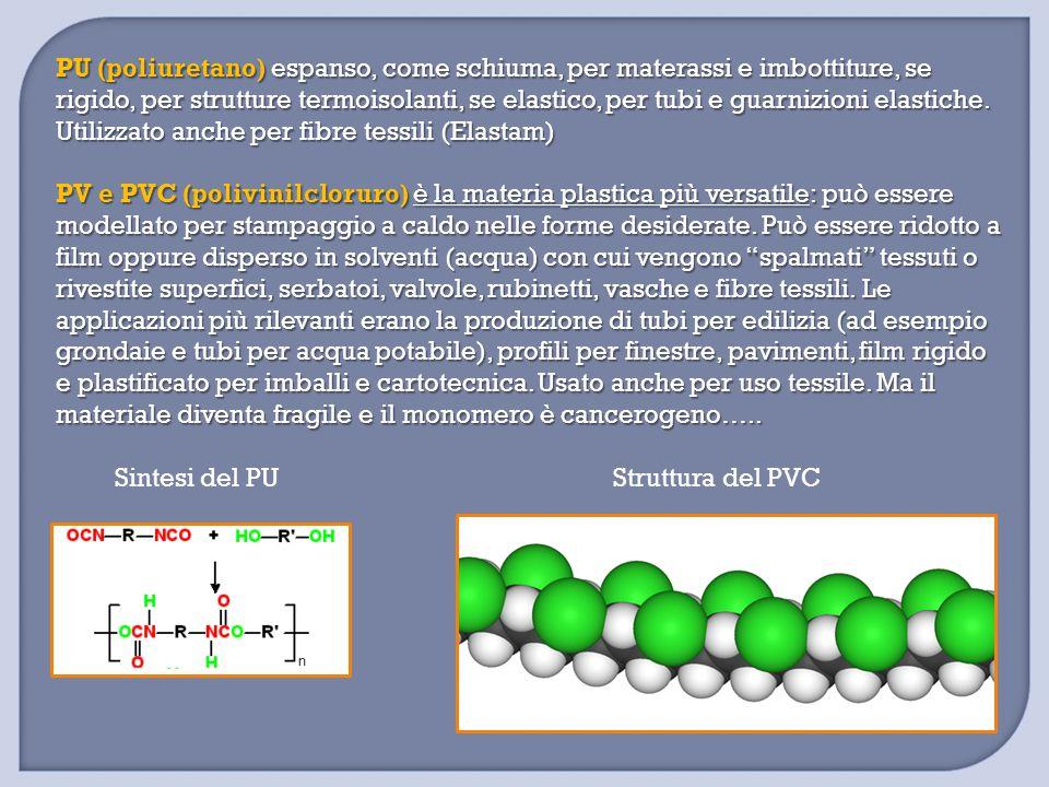 PU (poliuretano) espanso, come schiuma, per materassi e imbottiture, se rigido, per strutture termoisolanti, se elastico, per tubi e guarnizioni elast