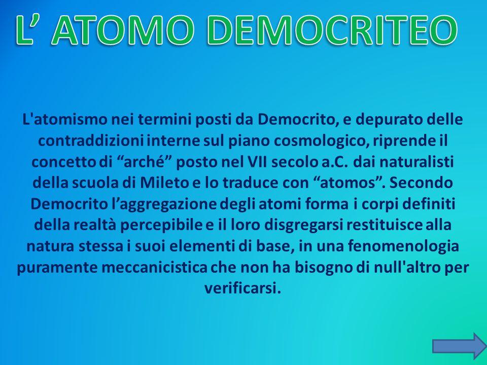 """L'atomismo nei termini posti da Democrito, e depurato delle contraddizioni interne sul piano cosmologico, riprende il concetto di """"arché"""" posto nel VI"""