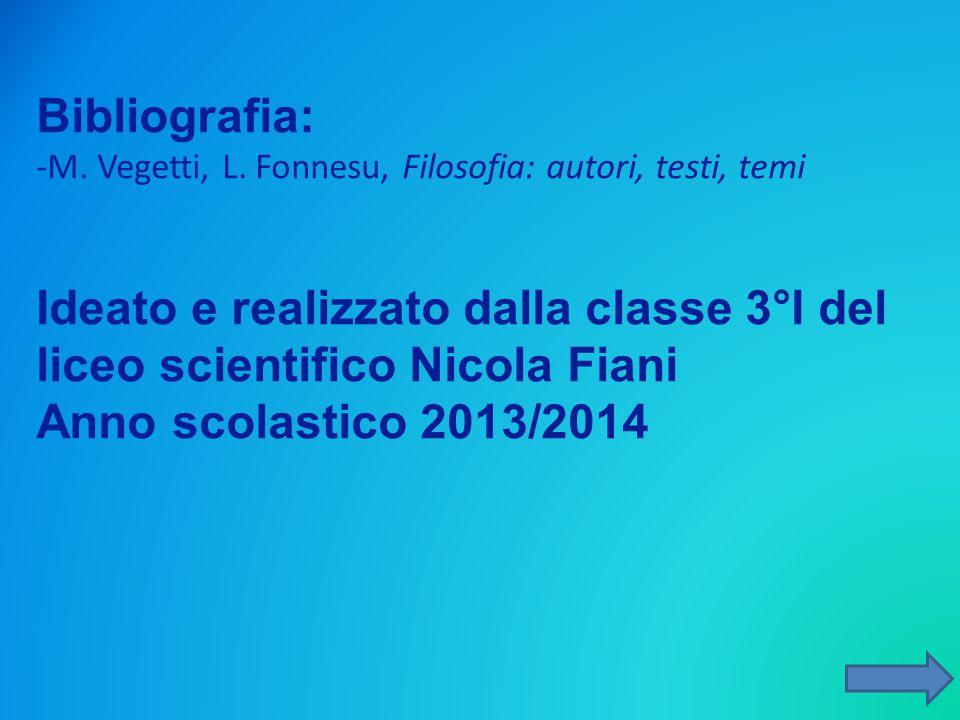 Bibliografia: -M. Vegetti, L. Fonnesu, Filosofia: autori, testi, temi Ideato e realizzato dalla classe 3°I del liceo scientifico Nicola Fiani Anno sco