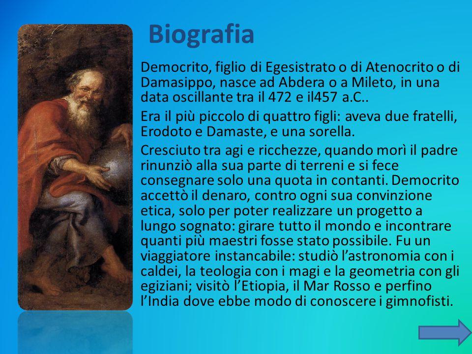 Democrito, figlio di Egesistrato o di Atenocrito o di Damasippo, nasce ad Abdera o a Mileto, in una data oscillante tra il 472 e il457 a.C.. Era il pi
