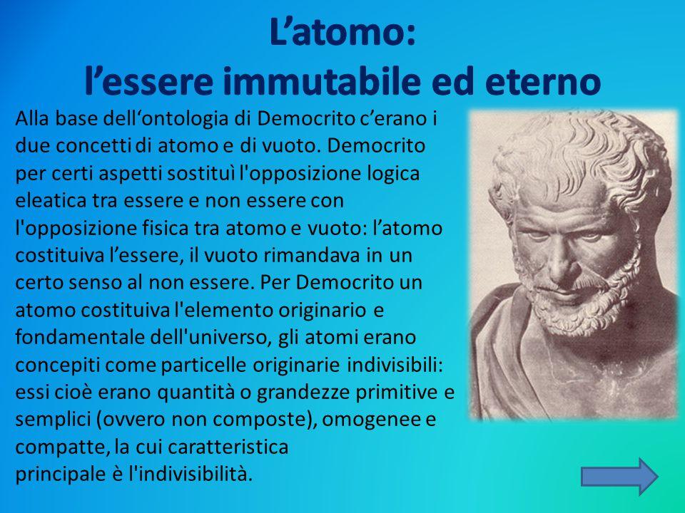 Alla base dell'ontologia di Democrito c'erano i due concetti di atomo e di vuoto. Democrito per certi aspetti sostituì l'opposizione logica eleatica t