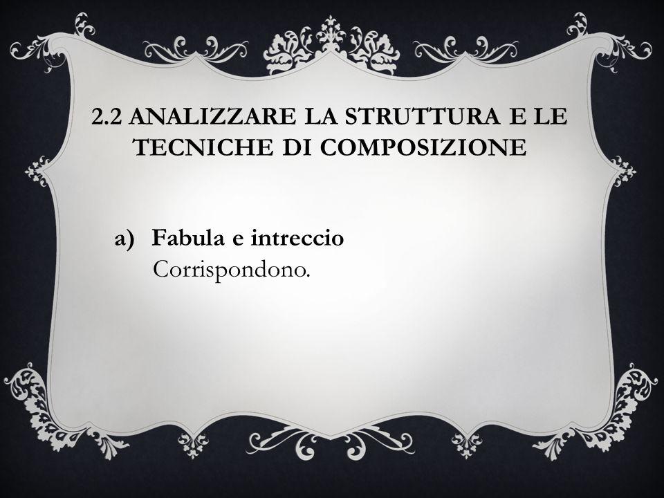 2.2 ANALIZZARE LA STRUTTURA E LE TECNICHE DI COMPOSIZIONE a)Fabula e intreccio Corrispondono.