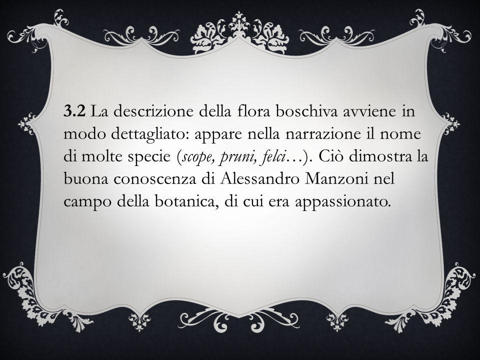 3.2 La descrizione della flora boschiva avviene in modo dettagliato: appare nella narrazione il nome di molte specie (scope, pruni, felci…). Ciò dimos