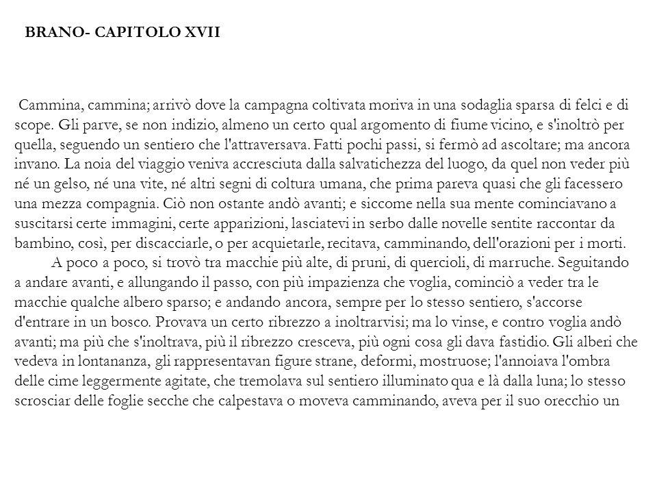 BRANO- CAPITOLO XVII Cammina, cammina; arrivò dove la campagna coltivata moriva in una sodaglia sparsa di felci e di scope. Gli parve, se non indizio,
