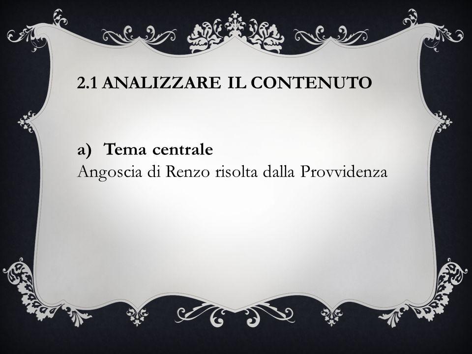 2.1 ANALIZZARE IL CONTENUTO a)Tema centrale Angoscia di Renzo risolta dalla Provvidenza