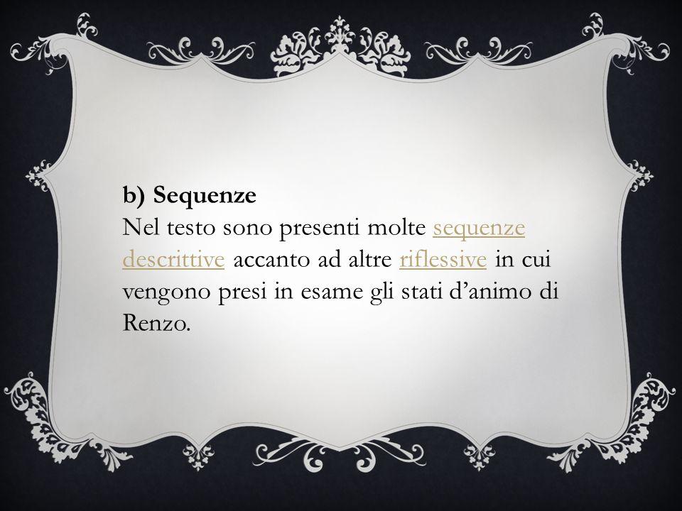 b) Sequenze Nel testo sono presenti molte sequenze descrittive accanto ad altre riflessive in cui vengono presi in esame gli stati d'animo di Renzo.sequenze descrittiveriflessive