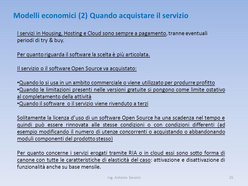 Ing. Antonio Savoini25 Modelli economici (2) Quando acquistare il servizio I servizi in Housing, Hosting e Cloud sono sempre a pagamento, tranne event