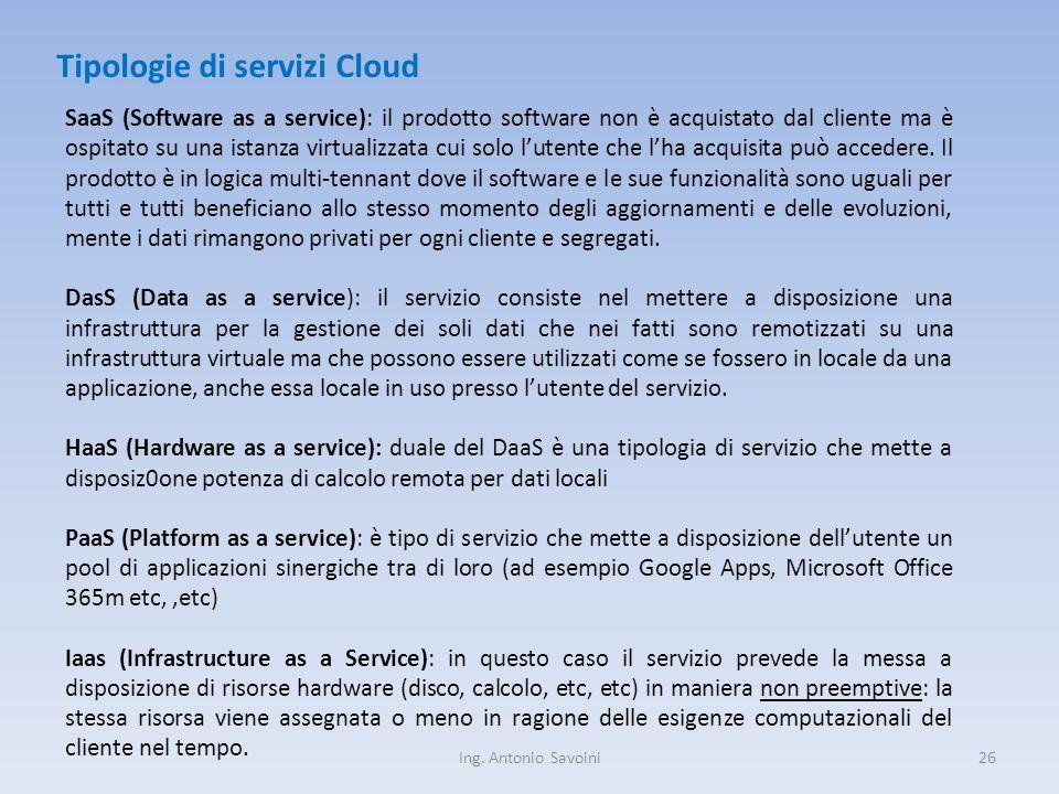 Ing. Antonio Savoini26 Tipologie di servizi Cloud SaaS (Software as a service): il prodotto software non è acquistato dal cliente ma è ospitato su una