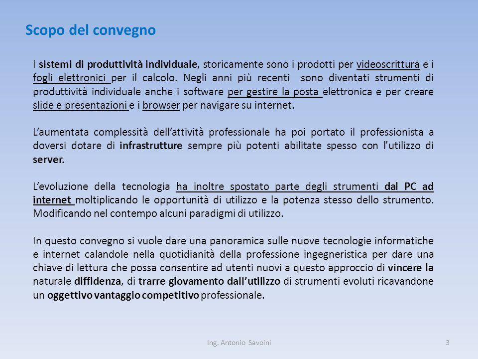 3 Scopo del convegno I sistemi di produttività individuale, storicamente sono i prodotti per videoscrittura e i fogli elettronici per il calcolo.