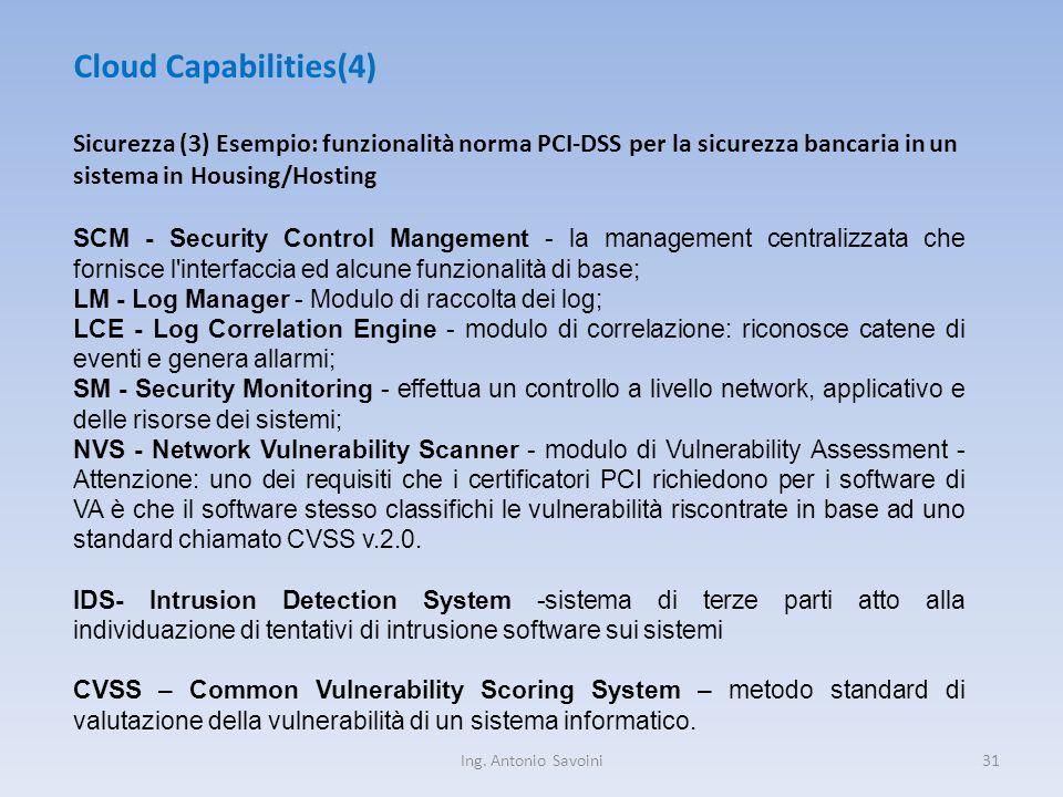 Ing. Antonio Savoini31 Cloud Capabilities(4) Sicurezza (3) Esempio: funzionalità norma PCI-DSS per la sicurezza bancaria in un sistema in Housing/Host
