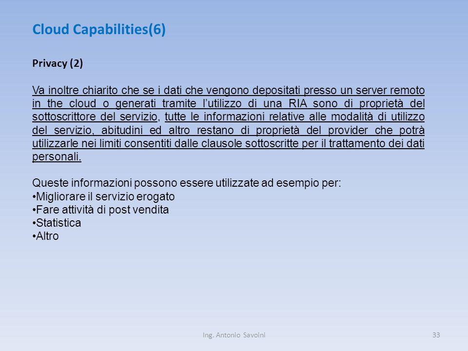 Ing. Antonio Savoini33 Cloud Capabilities(6) Privacy (2) Va inoltre chiarito che se i dati che vengono depositati presso un server remoto in the cloud
