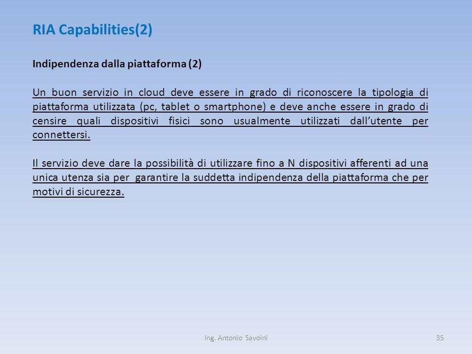 Ing. Antonio Savoini35 RIA Capabilities(2) Indipendenza dalla piattaforma (2) Un buon servizio in cloud deve essere in grado di riconoscere la tipolog
