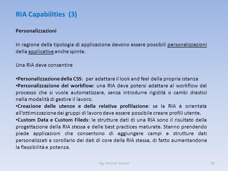 Ing. Antonio Savoini36 RIA Capabilities (3) Personalizzazioni In ragione della tipologia di applicazione devono essere possibili personalizzazioni del