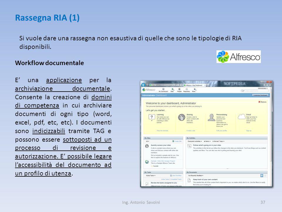 Ing. Antonio Savoini37 Rassegna RIA (1) Si vuole dare una rassegna non esaustiva di quelle che sono le tipologie di RIA disponibili. Workflow document