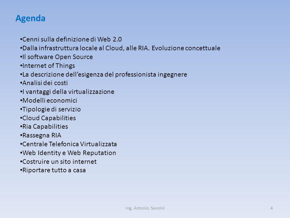 Ing. Antonio Savoini4 Agenda Cenni sulla definizione di Web 2.0 Dalla infrastruttura locale al Cloud, alle RIA. Evoluzione concettuale Il software Ope