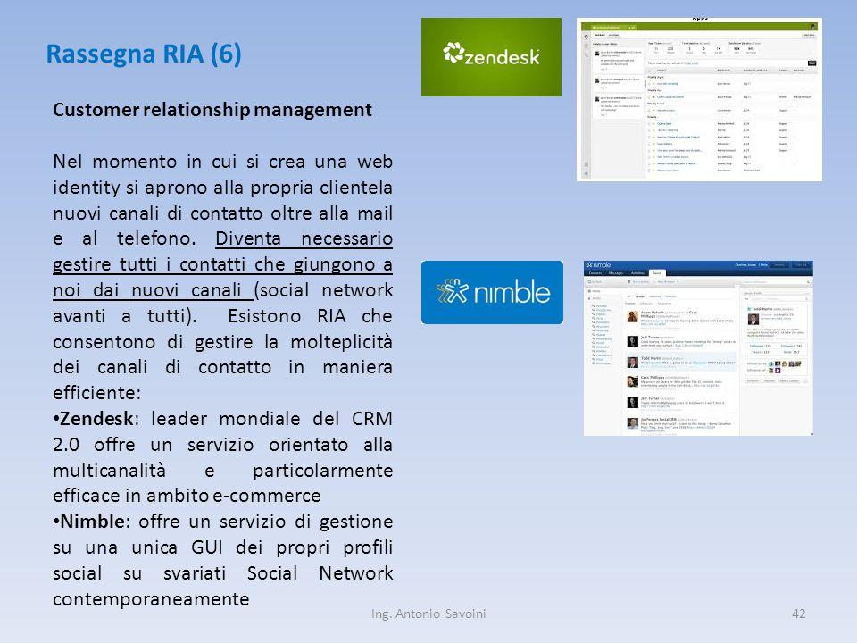 Ing. Antonio Savoini42 Rassegna RIA (6) Customer relationship management Nel momento in cui si crea una web identity si aprono alla propria clientela