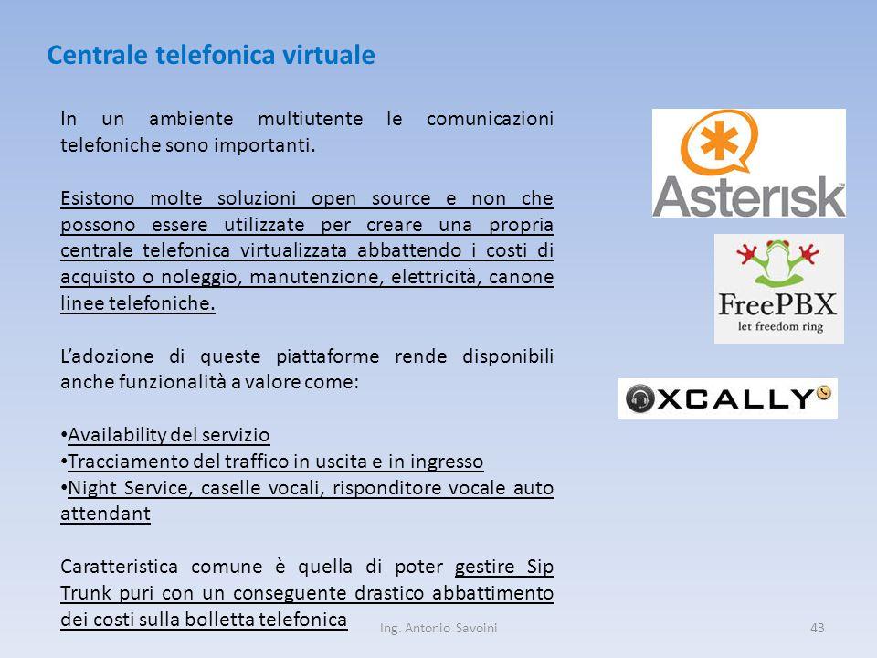 Ing. Antonio Savoini43 Centrale telefonica virtuale In un ambiente multiutente le comunicazioni telefoniche sono importanti. Esistono molte soluzioni