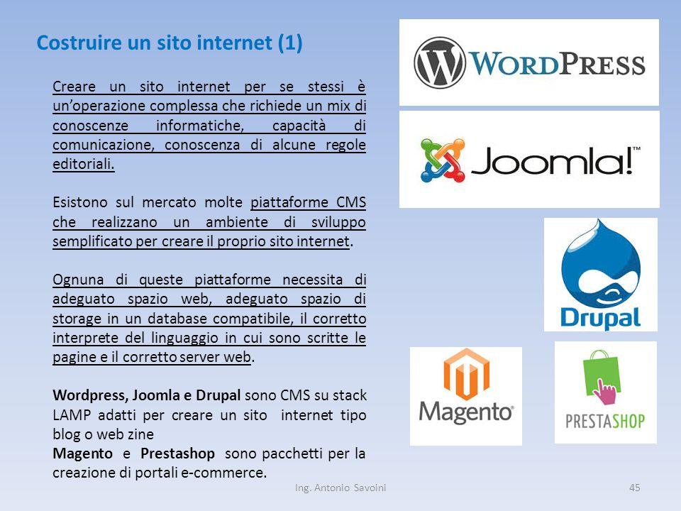 Ing. Antonio Savoini45 Costruire un sito internet (1) Creare un sito internet per se stessi è un'operazione complessa che richiede un mix di conoscenz