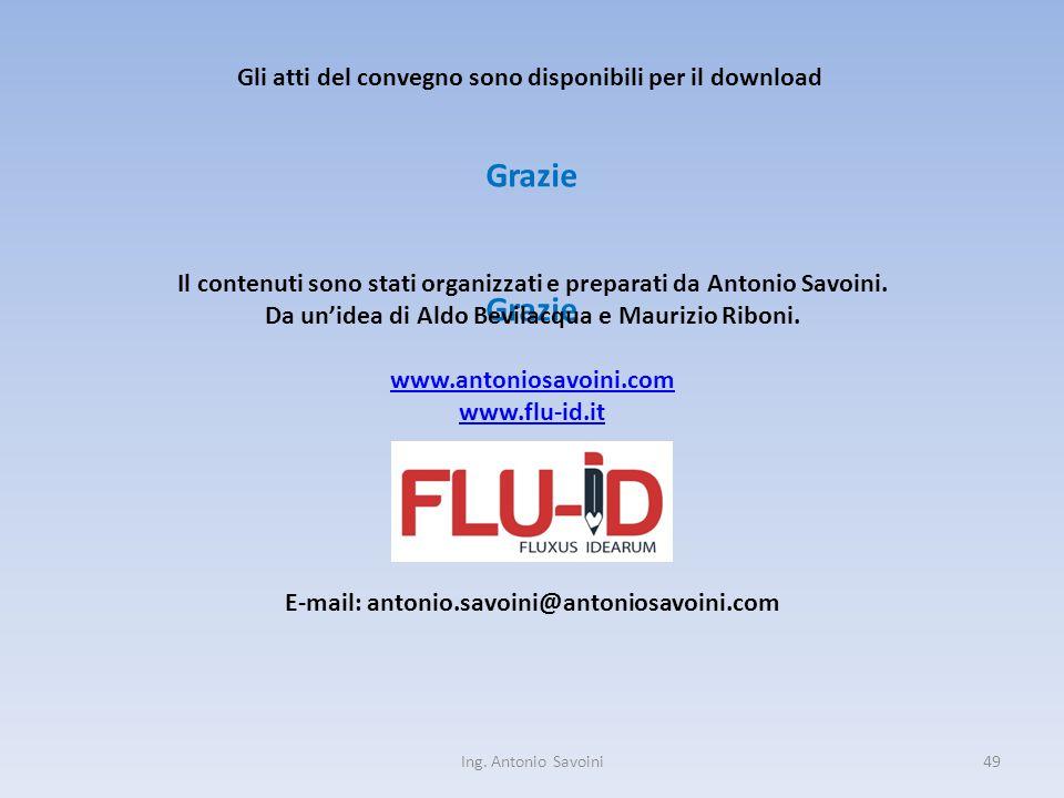 Ing. Antonio Savoini49 Grazie Il contenuti sono stati organizzati e preparati da Antonio Savoini.