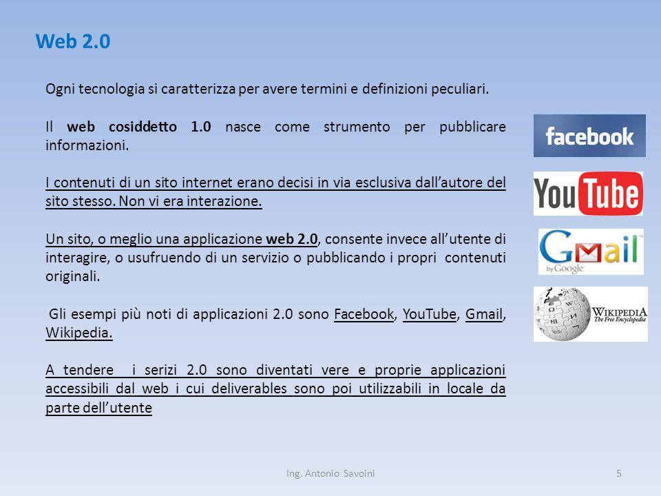 Ing. Antonio Savoini5 Web 2.0 Ogni tecnologia si caratterizza per avere termini e definizioni peculiari. Il web cosiddetto 1.0 nasce come strumento pe