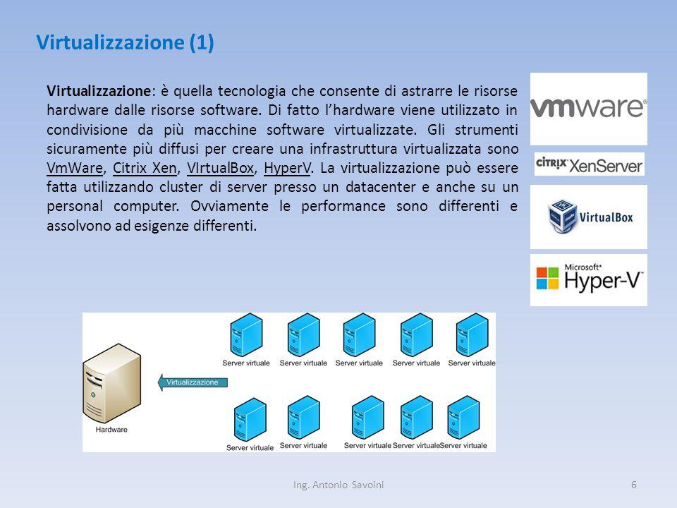 Ing. Antonio Savoini6 Virtualizzazione (1) Virtualizzazione: è quella tecnologia che consente di astrarre le risorse hardware dalle risorse software.