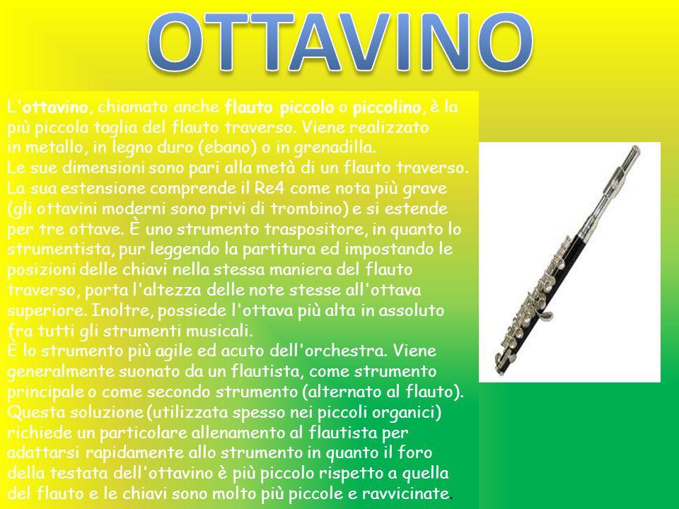 L'ottavino, chiamato anche flauto piccolo o piccolino, è la più piccola taglia del flauto traverso. Viene realizzato in metallo, in legno duro (ebano)